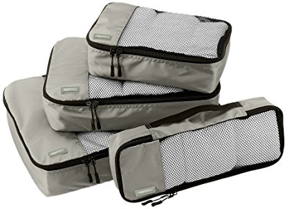 AmazonBasics 4-Piece Packing Cube Set – Small, Medium, Large, and Slim, Gray